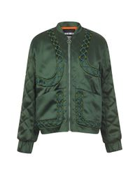 House of Holland - Green Satin Bomber - Lyst