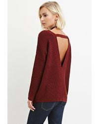 Forever 21 - Brown V-neck Cutout Sweater - Lyst