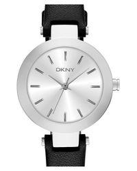 DKNY - Black 'stanhope' Leather Strap Watch - Lyst