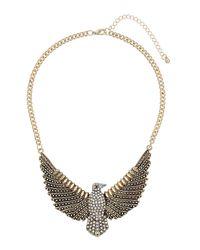 TOPSHOP - White Rhinestone Chunky Eagle Necklace - Lyst
