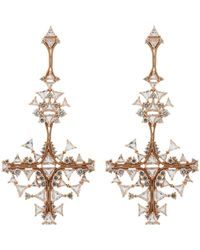 Fernando Jorge - Pink Diamond, Clear Topaz & Rose Gold Fusion Cross Earrings- - Lyst