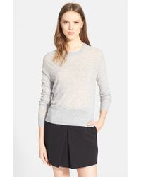 VINCE | Gray Lightweight Crewneck Sweater | Lyst