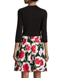 Diane von Furstenberg - Red 3/4-sleeve Floral-print Combo Wrap Dress - Lyst