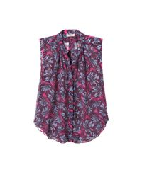 Rebecca Taylor Purple Sleeveless Mystic Garden Print Chiffon Top