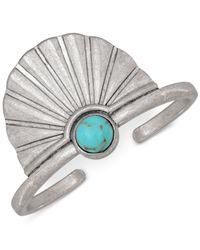 Lucky Brand - Metallic Silver-tone Stone Feather Bracelet - Lyst