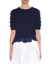 MUVEIL - Blue Frill-Hem Cotton-Blend Sweater - Lyst