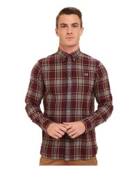 Fred Perry - Brown Marl Winter Check Shirt for Men - Lyst