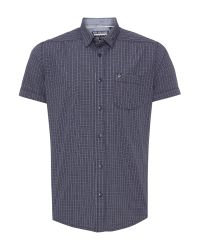 Duck and Cover - Blue Check Classic Fit Short Sleeve Button Down Shirt for Men - Lyst