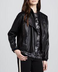 Halston - Black Leather Convertiblecollar Motorcycle Jacket - Lyst