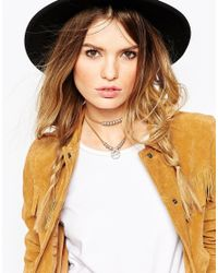 ASOS - Metallic Western Leather Cord Disc Choker Necklace - Lyst
