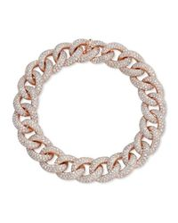 Anne Sisteron - Pink 14kt Rose Gold Diamond Luxe Chain Link Bracelet - Lyst