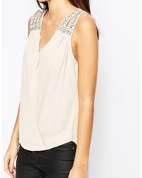 TFNC London | Blue Wrap Front Chiffon Top With Embellished Shoulder | Lyst