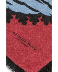 Burberry - Blue Large All Over Leaf Cashmere Scarf In Garnet Pink - Lyst