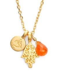 Satya Jewelry | Orange Cluster Pendant Necklace - Carnelian- Om Hamsa | Lyst