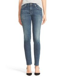 Citizens of Humanity - Blue 'agnes' High Rise Slim Straight Leg Jeans - Lyst