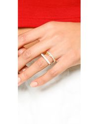Michael Kors - Multicolor Pave Crossover Ring Goldclear - Lyst