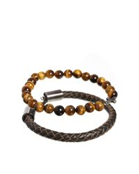 Simon Carter | Brown Leather And Semi Precious Bracelet Pack Exclusive To Asos for Men | Lyst