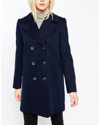 ASOS - Blue Pea Coat With Faux Fur Trim - Lyst