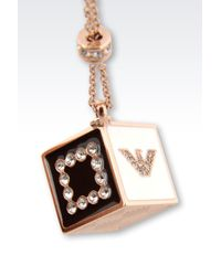 Emporio Armani | Pink Gold-Plated Necklace With Swarovski | Lyst