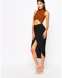 Club L | Black Ruched Pencil Skirt With Wrap Front | Lyst