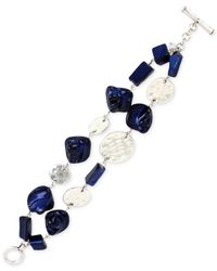 Kenneth Cole - Blue Silver-tone Mixed Shell Bead Two-row Toggle Bracelet - Lyst