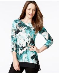 Style & Co. | Blue Style&co. Asymmetrical Chiffon-hem Top, Only At Macy's | Lyst