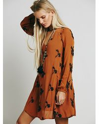 Free People | Brown Embroidered Austin Dress | Lyst
