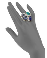 Alexis Bittar | Blue Elements Maldivian Sodalite White Quartz Lapis Chrysocolla Vine Ring | Lyst