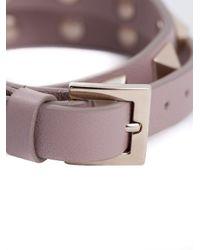 Valentino - Gray 'Rockstud' Double Wrap Bracelet - Lyst