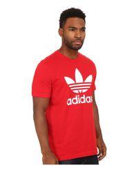 Adidas Originals   Red Originals Trefoil Tee for Men   Lyst
