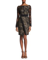 J. Mendel - Black Long-sleeve Lace Wrap-front Dress - Lyst