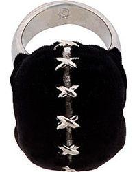 Alexander McQueen - Black Silver and Velvet Luchador Skull Ring for Men - Lyst