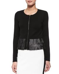 Nanette Lepore - Black Fierce Lambskin Leather Fringe Cardigan - Lyst