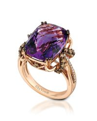 Le Vian | Purple 14k Rose Gold Amethyst And Diamond Ring | Lyst