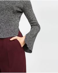 Zara | Gray Sweater With Openings | Lyst