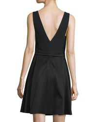 J. Mendel - Black V-neck Fit-&-flare Dress - Lyst