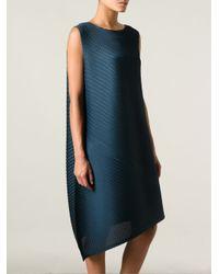 Pleats Please Issey Miyake - Blue Asymmetric Textured Dress - Lyst