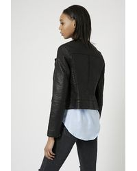 TOPSHOP - Black Tall Collarless Biker Jacket - Lyst
