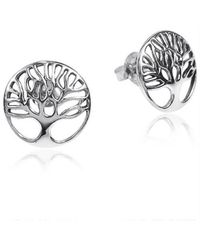 Aeravida | Metallic Artistic 'tree Of Life' .925 Sterling Silver Stud Earrings | Lyst