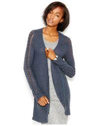 RACHEL Rachel Roy | Blue Waffle-knit Shawl Collar Cardigan | Lyst