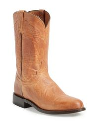 Lucchese - Brown 'goat Roper - Argyle Stitch' Leather Boot for Men - Lyst