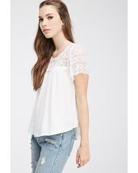 Forever 21 - Natural Lace-paneled Crepe Top - Lyst