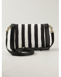 Dolce & Gabbana - Black Dolce Striped Leather Shoulder Bag - Lyst