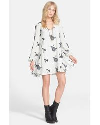 Free People - Gray 'Emma'S' Embroidered Swing Dress - Lyst
