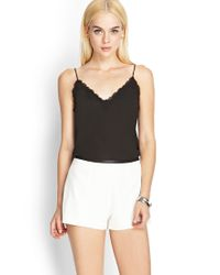Forever 21 - White Faux Leather-trimmed Shorts - Lyst