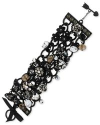 Betsey Johnson | Black-Tone Flower And Critter Charm Toggle Bracelet | Lyst