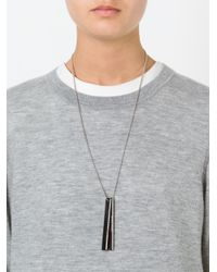 Brunello Cucinelli | Black Logo Dog Tag Necklace | Lyst