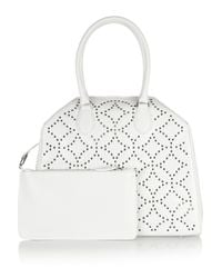 Alaïa - White Trapeze Arabesque Embellished Leather Tote - Lyst