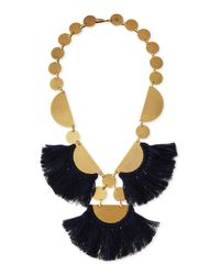 Tory Burch - Blue Fringe-disc Statement Necklace - Lyst