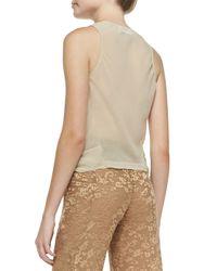 Donna Karan - Natural Sleeveless V-neck Blouse W/ Cascading Ruffle - Lyst